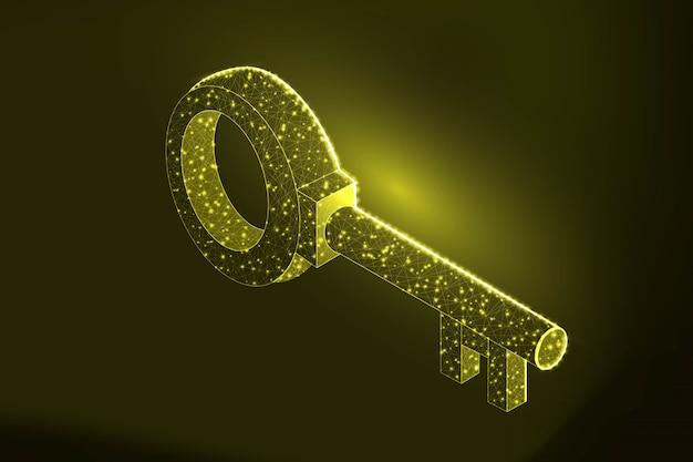 Ilustración de clave de baja poli de color dorado