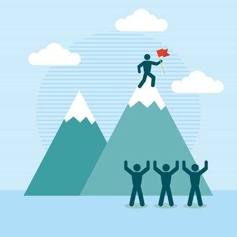 Ilustración de coaching con pictograma personas y montañas.