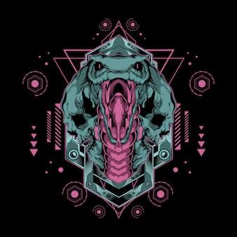 Ilustración de cobra monstruo del infierno con geometría sagrada