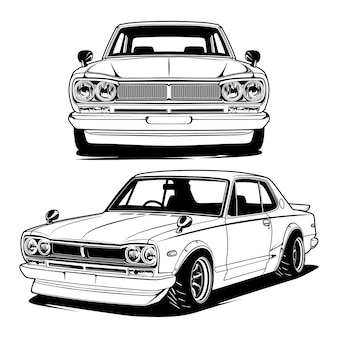 Ilustración de coche blanco y negro