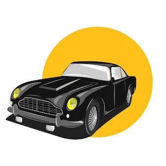 Ilustración de coche clásico en color colid vector premium