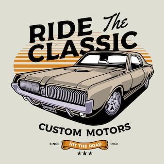 Ilustración de coche clásico crema