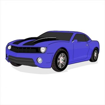 Ilustración coche deportivo, músculo