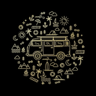 Ilustración de un coche de estilo de arte de línea dorada