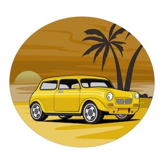 Ilustración del coche, mini morris con fondo de playa