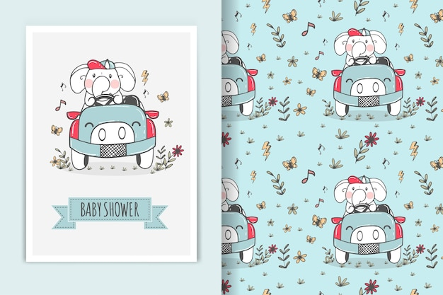 Ilustración de coche de montar elefante y patrones sin fisuras