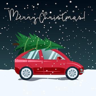 Ilustración de un coche que entrega un árbol de navidad en un paisaje nevado de invierno