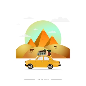Ilustración de coche que viaja