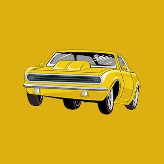 , ilustración del coche retro, coche viejo sedán