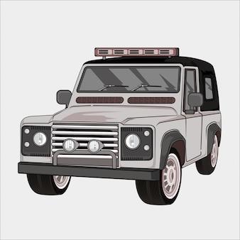Ilustración del coche retro, vintage clásico 4x4