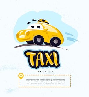 Ilustración de coche de taxi sobre fondo blanco. estilo de dibujos animados. coche de conducción lindo divertido. plantilla de logotipo de servicio de taxi.