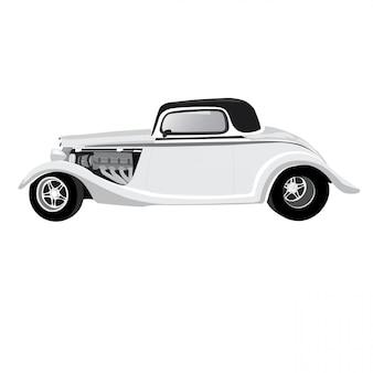 Ilustración del coche de la vendimia aislado en el fondo blanco