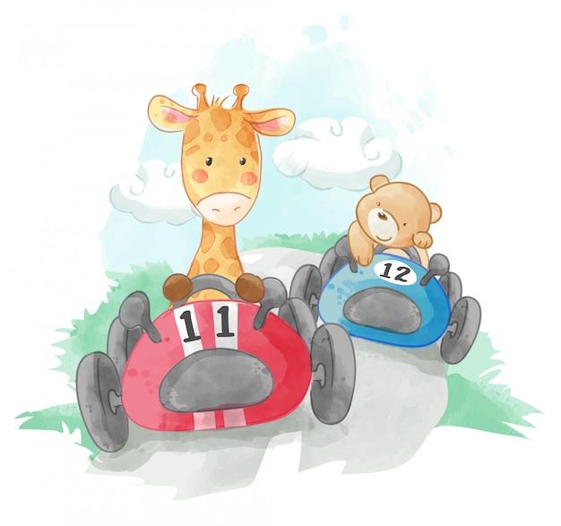 Ilustración de coches de carreras de animales lindos
