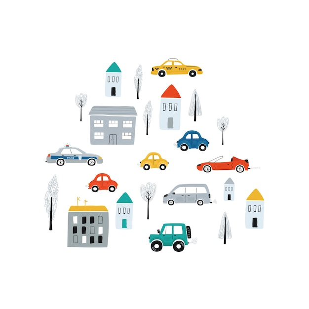 Ilustración con coches y casas. impresión del concepto de los niños lindos con el automóvil para el diseño de la habitación de los niños, textiles, ropa. vector