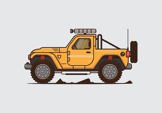 Ilustración de coches offroad vintage. vector plano