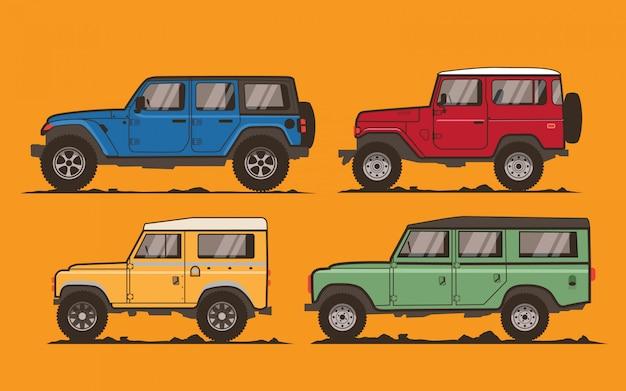 Ilustración de coches todoterreno