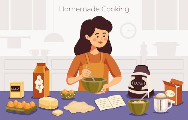 Ilustración de cocina casera con mujer joven de pie en la mesa con ingredientes