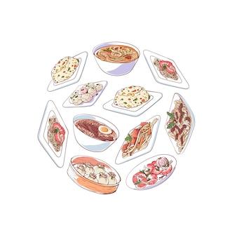 Ilustración de cocina china con platos asiáticos