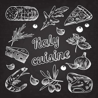 Ilustración de cocina italiana handdrawn