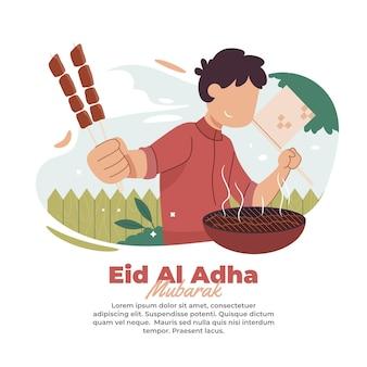 Ilustración de cocinar carne de sacrificio para comer juntos