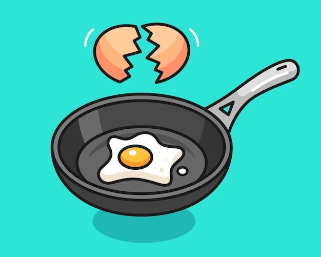 Ilustración de cocinar huevos en una sartén
