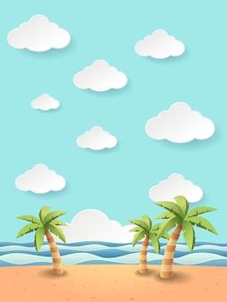 Ilustración de coco fantástico en el mar playa