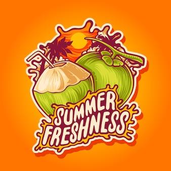 Ilustración de coco frescura de verano
