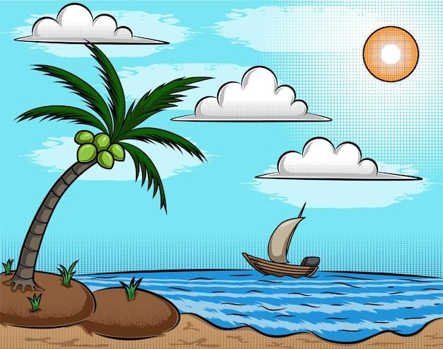 Ilustración de un cocotero en la playa