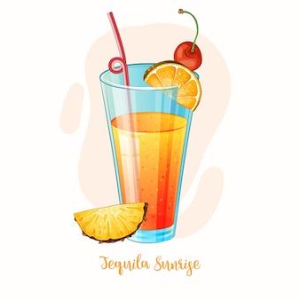 Ilustración de cóctel de alcohol tequila sunrise