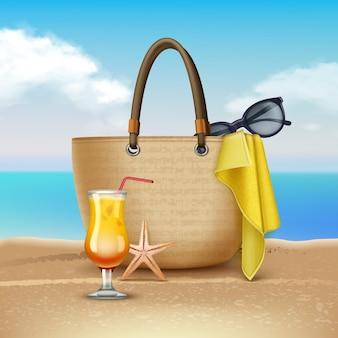 Ilustración de cóctel y bolso de mujer en la playa. sobre fondo de paisaje.