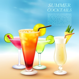 Ilustración de cócteles de verano