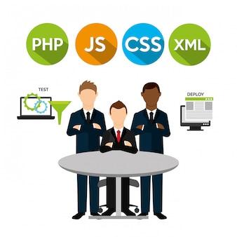Ilustración de código de software y personas de negocios