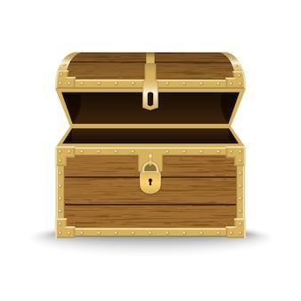 Ilustración de cofre de madera realista