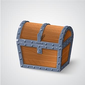 Ilustración de cofre de madera vintage con tapa cerrada