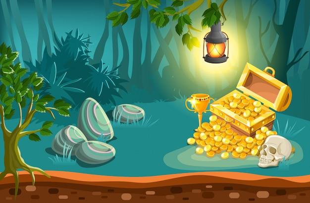 Ilustración de cofre del tesoro y paisaje de fantasía
