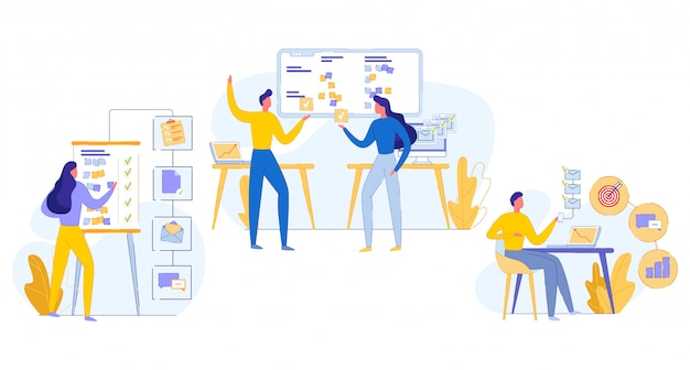 Ilustración cognitiva trabajo en equipo tarea ejecución plana.