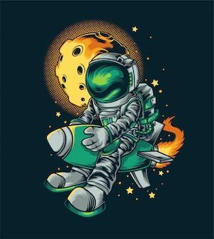 Ilustración de cohete astronout