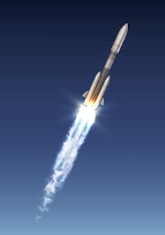 Ilustración de cohete espacial o vuelo de carrera después del lanzamiento en el cielo azul
