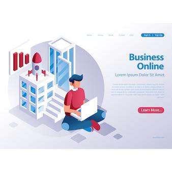 Ilustración de cohete de inicio de negocios con hombre y computadora portátil