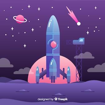 Ilustración cohete plano degradado