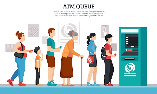 Ilustración de cola de cajero automático