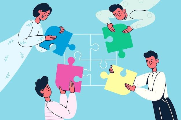 Ilustración de colaboración de cooperación de trabajo en equipo