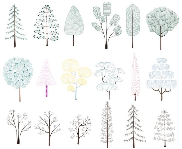Ilustración de la colección de árboles de pino