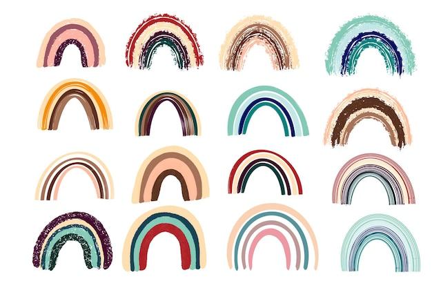 Ilustración de colección de arco iris boho