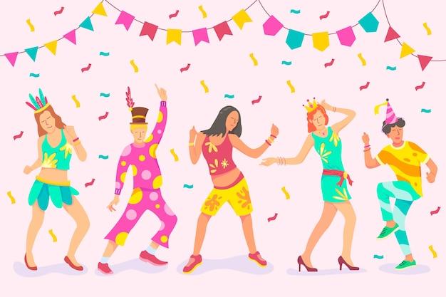 Ilustración con la colección de bailarines de carnaval
