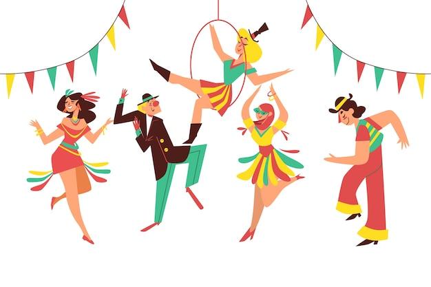 Ilustración con colección de bailarines de carnaval