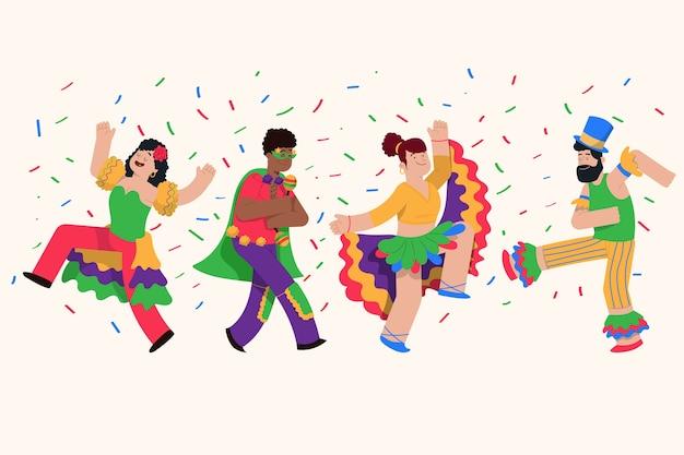 Ilustración de colección de bailarines de carnaval