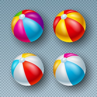 Ilustración con la colección colorida de la bola de playa aislada en transparente