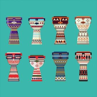 Ilustración de la colección de djembe con adornos.