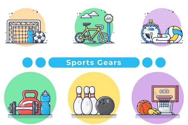 Ilustración de colección de engranajes deportivos en dibujado a mano
